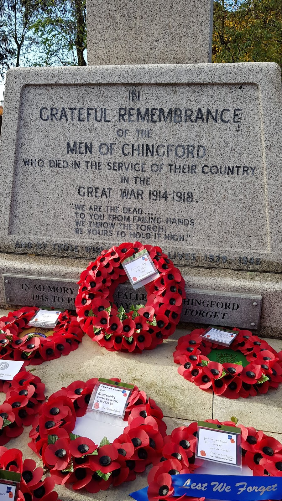 Poppy wreaths laid at the Chingford War Memorial in North London, 2018