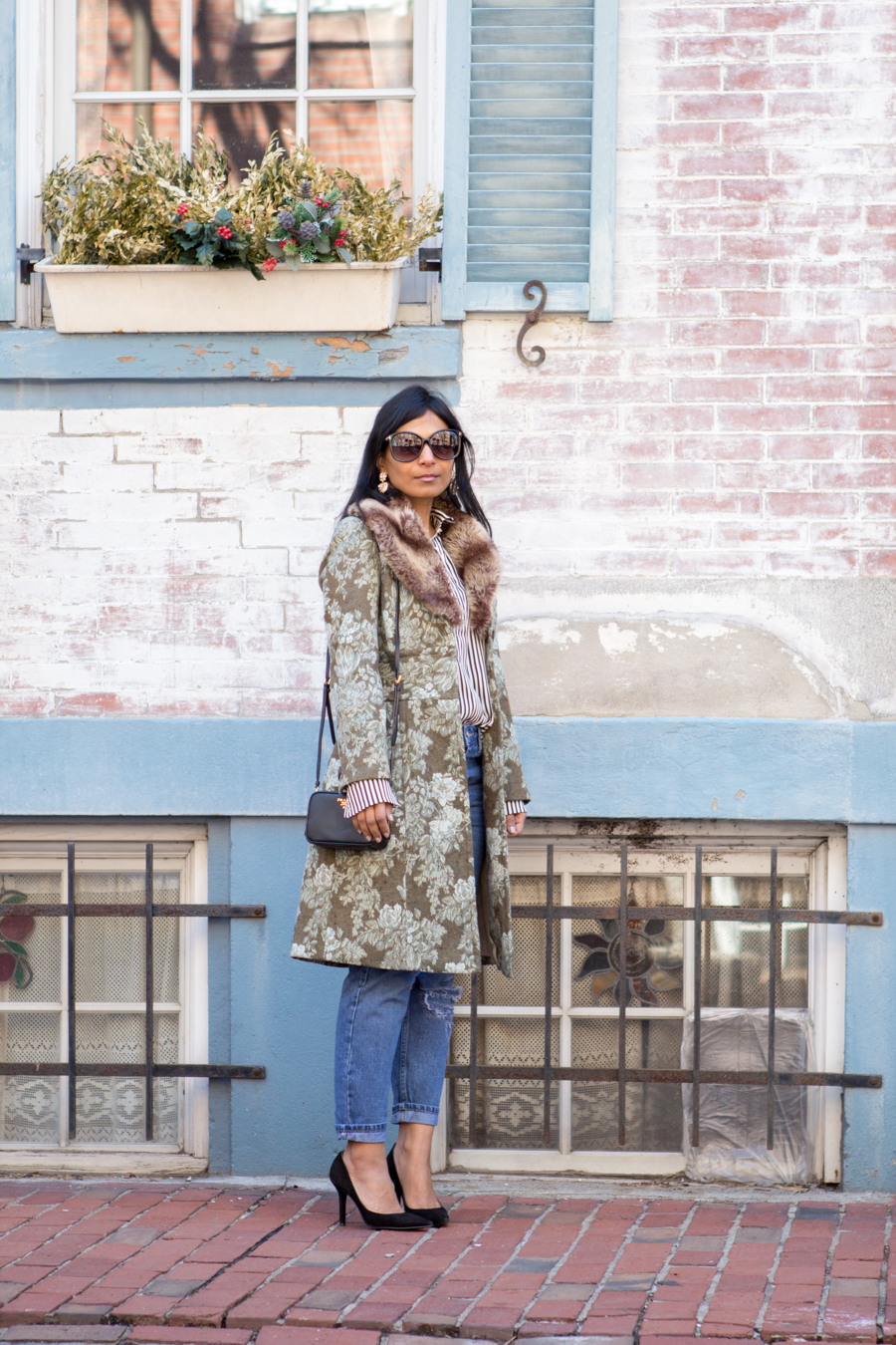 floral jacket, jacquard coat, statement coat, spring style, florals, green coat, mom jeans, black suede pumps, under $100, striped shirt, striped blouse, black and white stripes, eclectic, feminine style, easy glam, petite fashion, boston street style, mom style, mommy style, mom glam