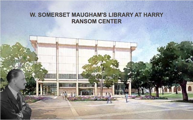 a collage of Somerset Maugham photo and drawing of Harry Ransom Center