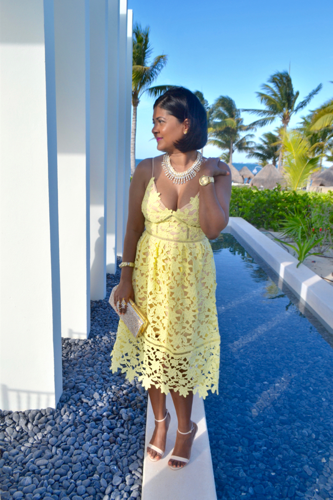 yellow lace dress summer wedding attire