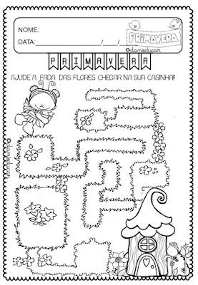 atividades de educação infantil, Datas comemorativas, Primavera, colorir, labirinto
