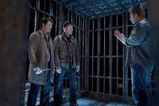 "Misha Collins as Castiel, Jensen Ackles as Dean Winchester, Mark Pellegrino as Lucifer in Supernatural 11x10 ""The Devil in the Details"""