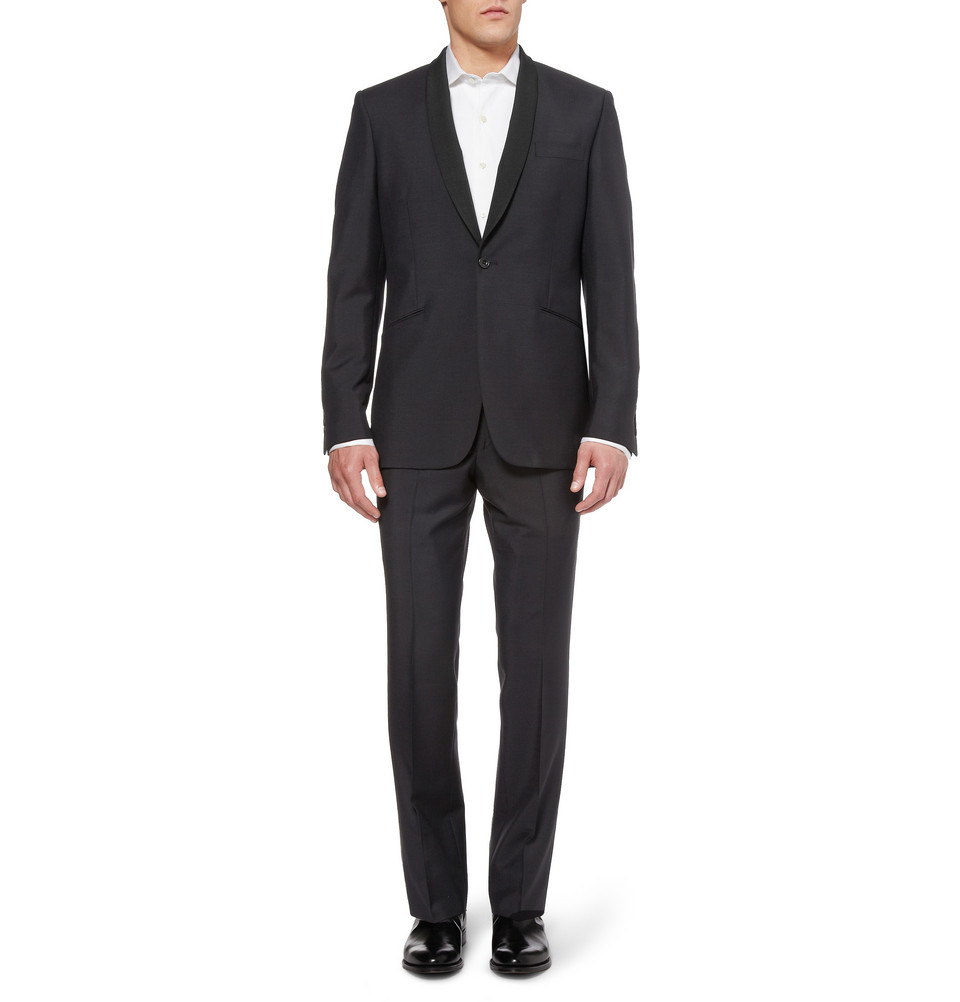 NAVY SHAWL-COLLAR WOOL-BLEND TUXEDO | Fashion Groom