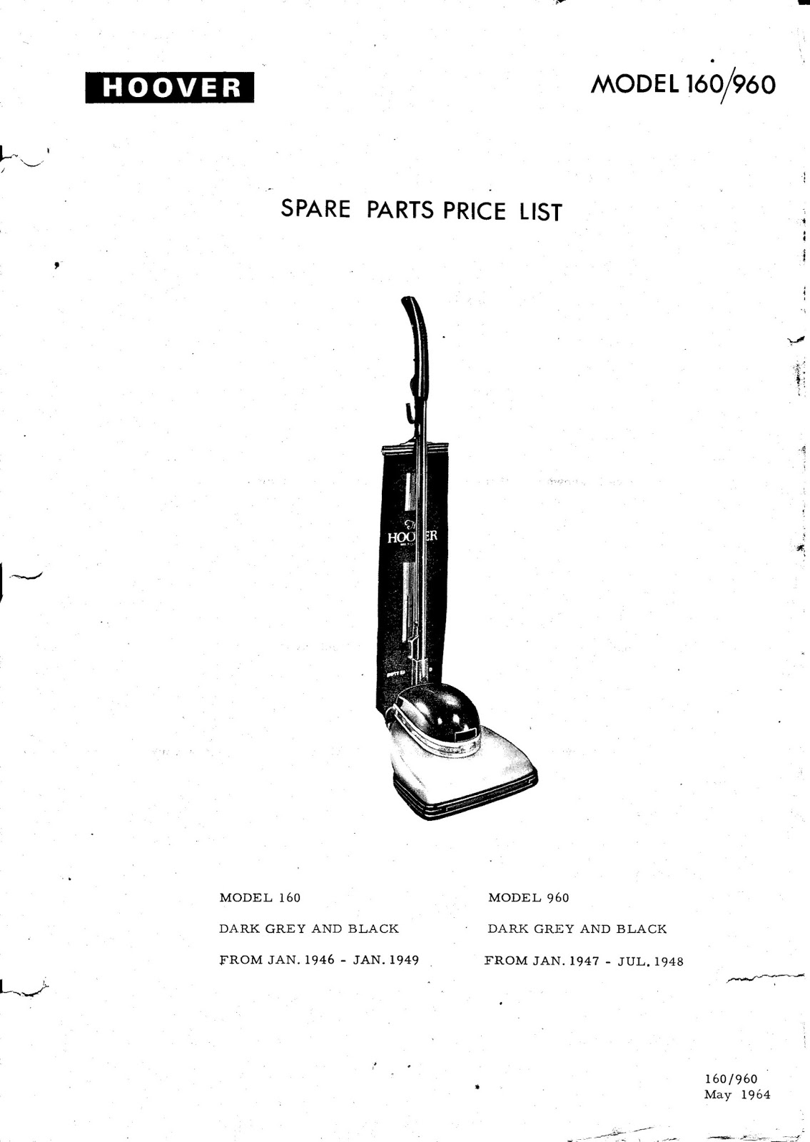 Hoover 160 & 190 Service Manual/Parts List