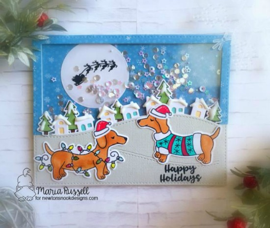 Shaker Scene Card with Doxies by Maria Russell | Holiday Hounds and Snow Globe Scenes Stamp Sets by Newton's Nook Designs #newtonsnook