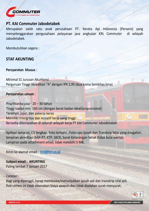 Lowongan Kerja KAI Commuter Jabodetabek Desember 2016 - Staf Acounting