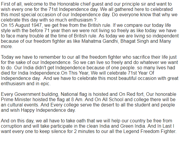 Indian Independence Day Speech Pdf