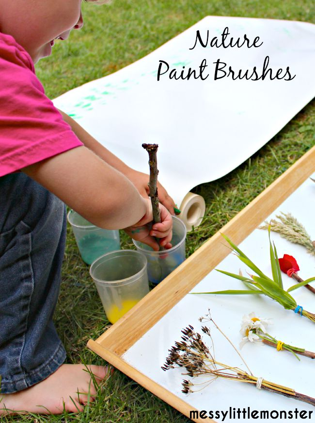 How to make nature paint brushes. Nature art painting for kids