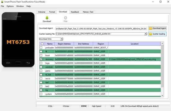 Smartphone Flash Tool (Runtime Trace Mode)