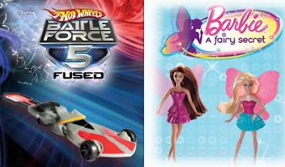McDonalds Hot Wheels Battle Force 5 and Barbie A Fairy Secret Toys 2011 Promotion
