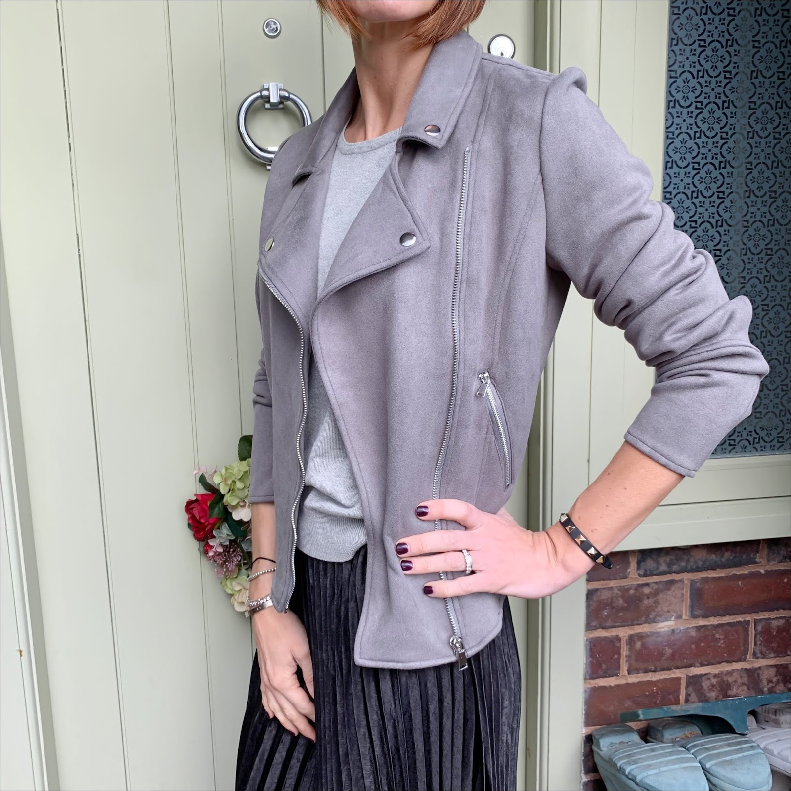 my midlife fashion, jd williams, jd williams grey suedette biker jacket, jd williams crew neck jumper, jd williams sunday pleat maxi skirt