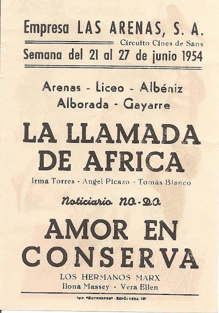 Programa de Cine - Amor en Conserva - Los Hermanos Marx - Vera Ellen - Marilyn Monroe