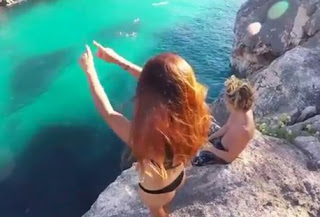 Woman with her boyfriend falls off cliff