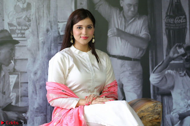 Mannara Chopra in Silky White Salwar Suit with Pink Chunni Latest Exclusive Pics March 2017 ~  001.JPG