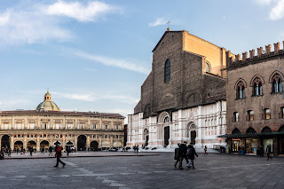 Bologna's Piazza Maggiore with the Basilica San Petronio
