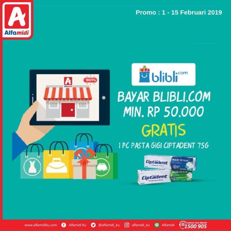 #Alfamidi - #Promo Bayar BliBli Min 50K Gratis 1PC Pasta Gigi (s.d 15 Feb 2019)