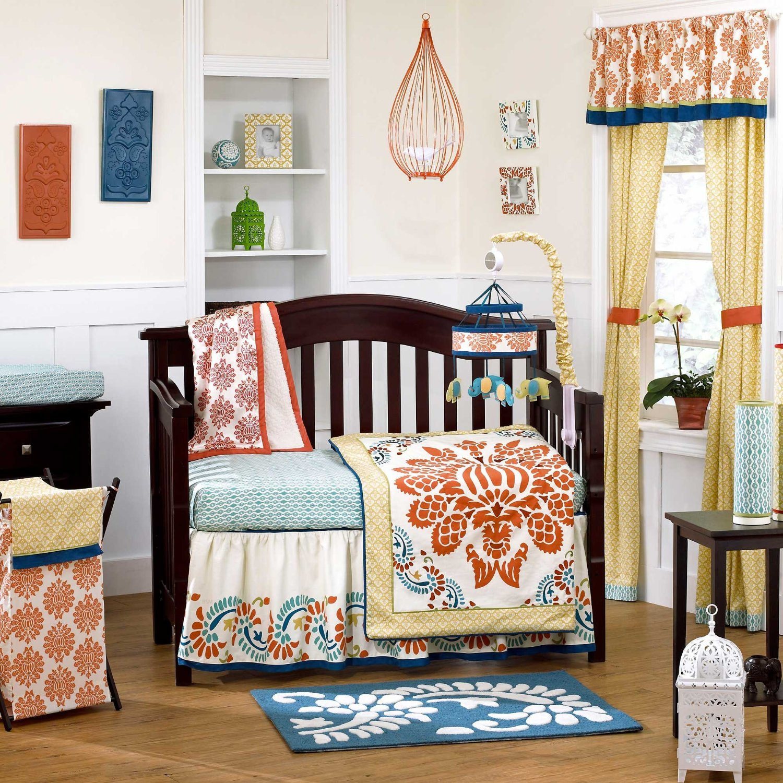 Blue and Orange Nursery Crib Sets & Bedding for Baby Girls ...