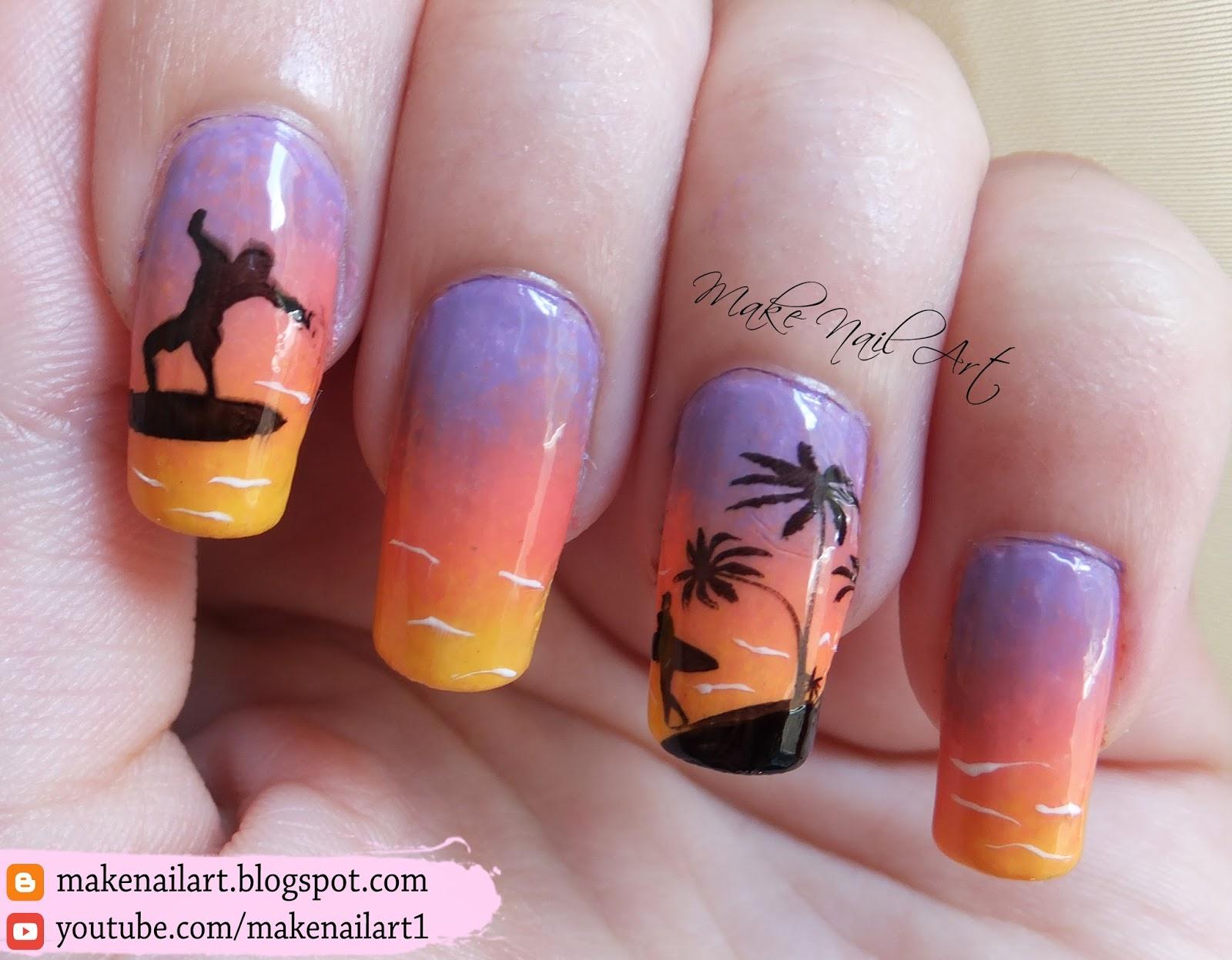 Summer Sea Sunset Stamping Nail Art Design Tutorial - Make Nail Art