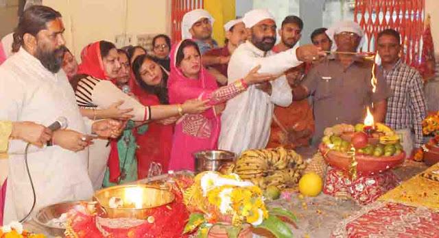 Establishment of mother Jwala ji Jyoti Jyoti on Navaratri in the premises of Shri Banke Bihari Temple