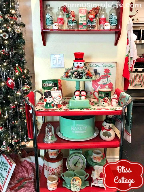 jadeite, red kitchen cart, retro Christmas drinkware