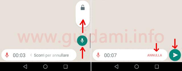 WhatsApp registrazione messaggio vocale in modalità a mani libere