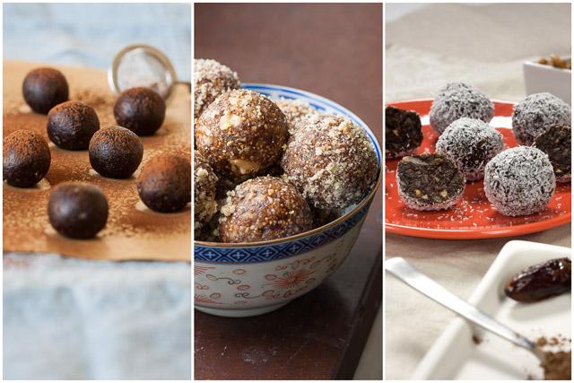 Tri vrste bombica od orašastih plodova i suvog voća, sa kakao prahom, rogačem ili cimetom