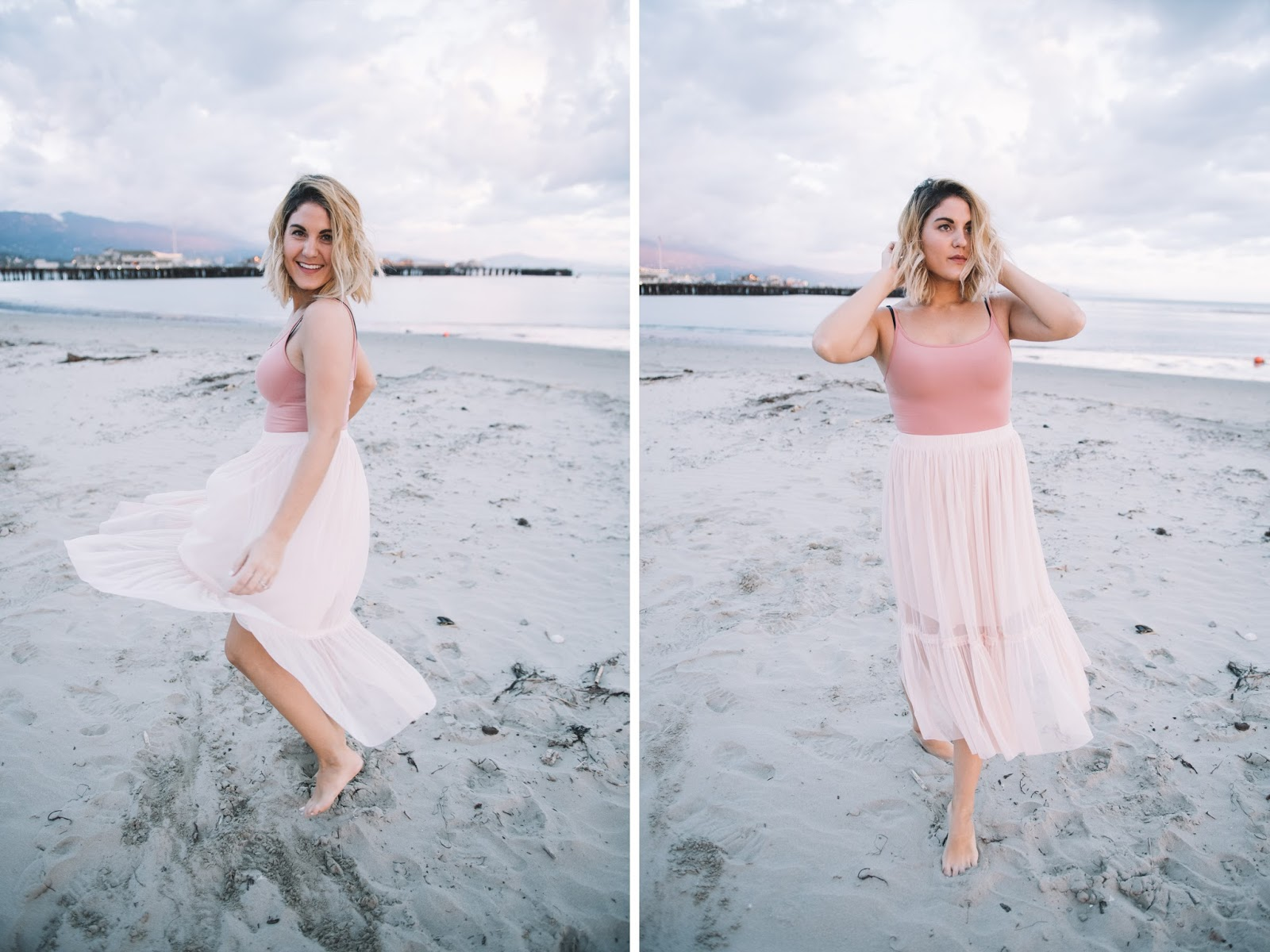 Pink Blush Tones - Bodysuit and Tulle Skirt