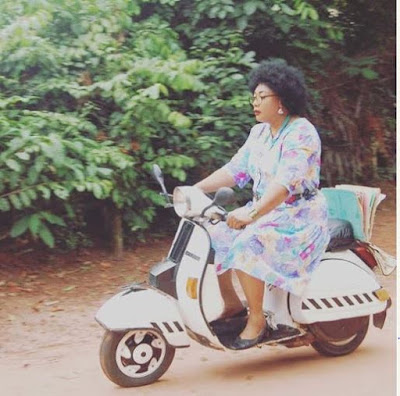 Evangelist Eucharia Anunobi Rocking 'Old School' On Set Of A New Movie (Photos)