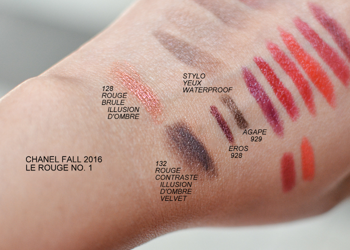 Chanel Fall 2016 Le Rouge No 1 Makeup Collection Swatches Illusion D'Ombre Rouge Brule 128 Illusion D'Ombre Velvet Rouge Contraste 132 Stylo Yeux Eros 928 and Agape 929
