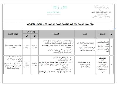 خطة التوجيه والارشاد 1441 خطة التوجيه والارشاد الطلابي 1441