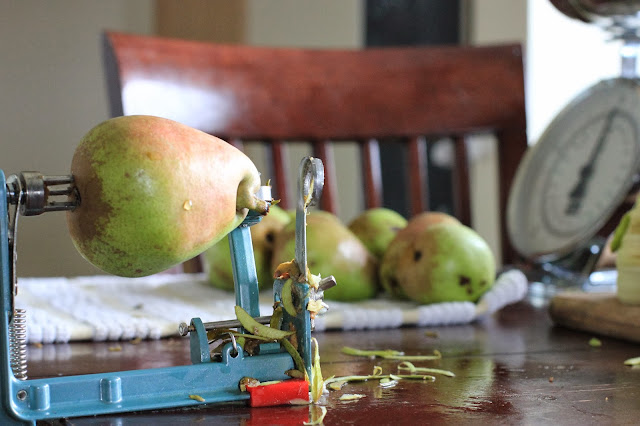 Creating Vanilla Spiced Pear Butter and Pearsauce!  A great and healthy family treat!  www.homestead128.com