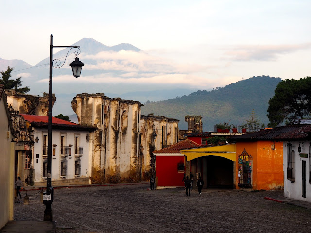 Early morning in Antigua, Guatemala, with the volcano in the background