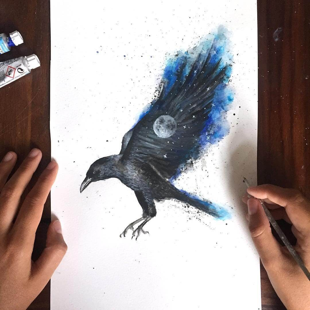 13-The-Raven-and-the-Full-Moon-Kathrin-Schwarz-Animal-Paintings-in-Different-Styles-www-designstack-co