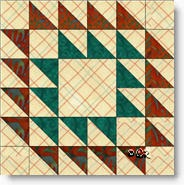 Indian Plume quilt block © W. Russell, patchworksquare.com