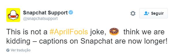 Snapchat lançou uma atualização que lhe dá mais caracteres