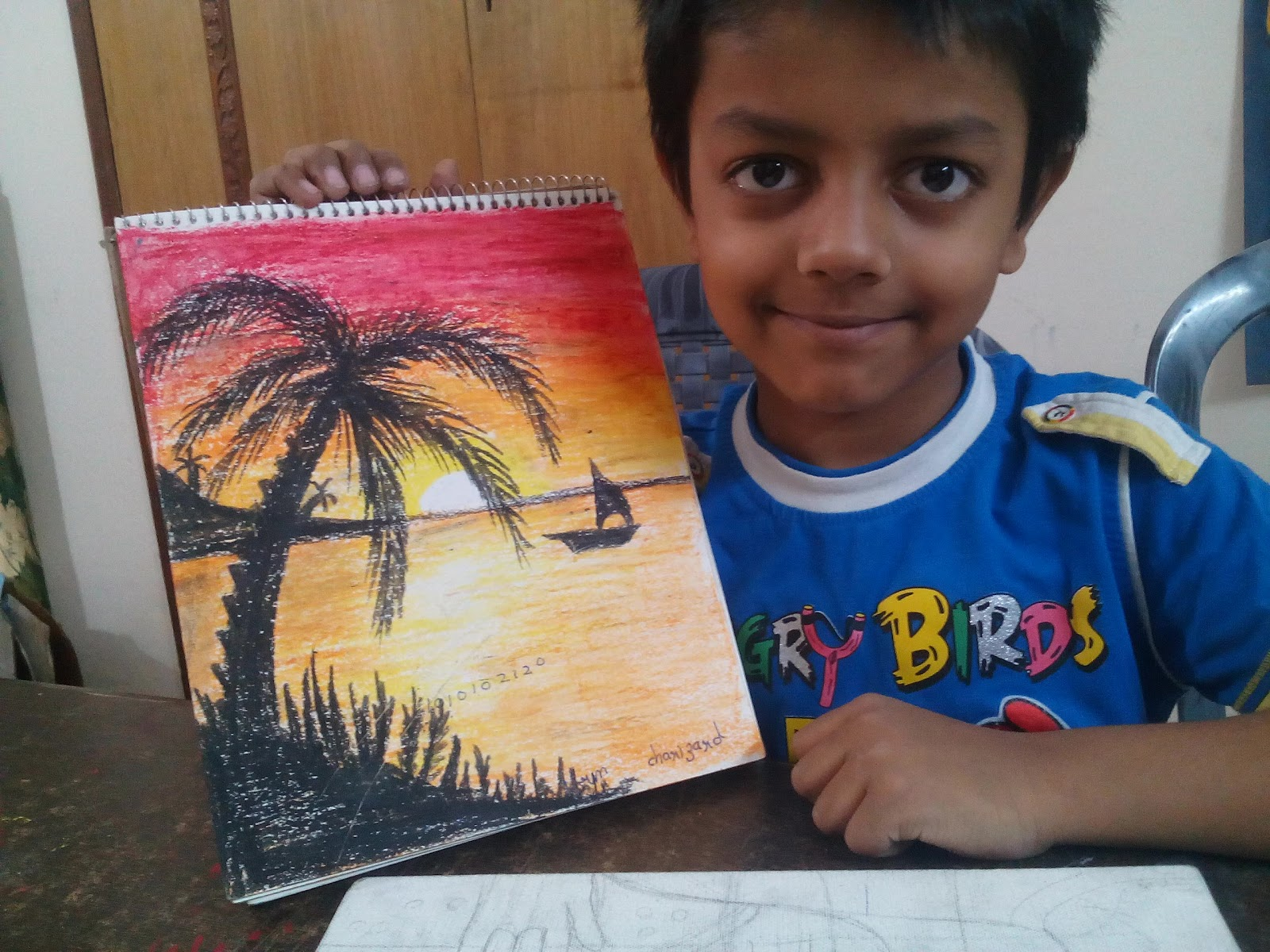 Master Rudra's Art: Sunset Drawing - Sunset drawing using oil pastels