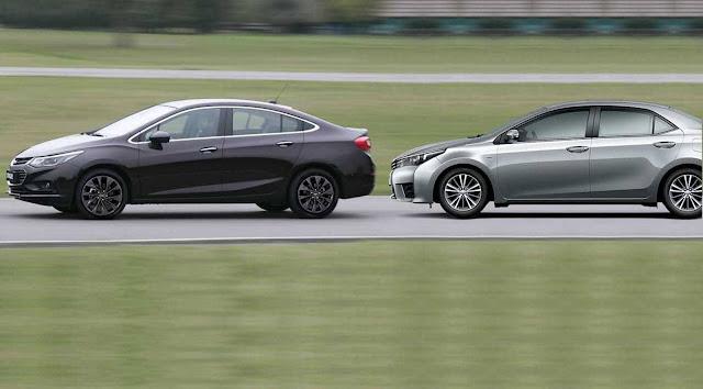 Toyota Corolla x Novo GM Cruze 2017 - comparativo