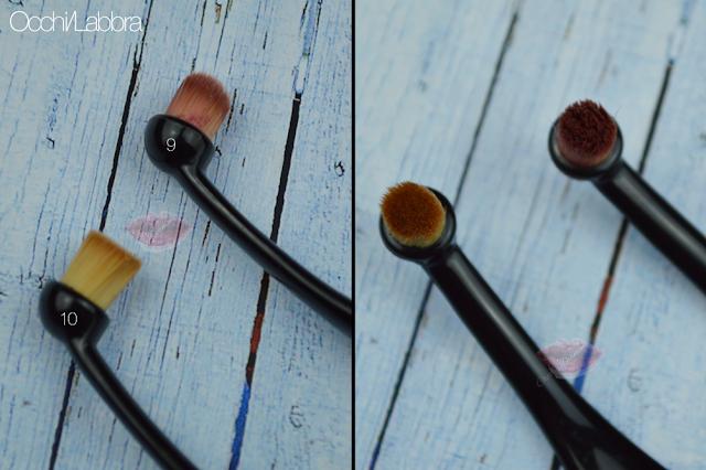 Cepillos ovales para maquillaje de labio y ojos y rostro