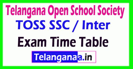 Telangana Open School Society TOSS SSC / Inter Exam Time Table