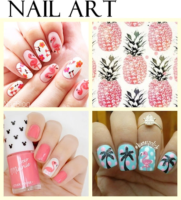 Unhas e nail art flamingos
