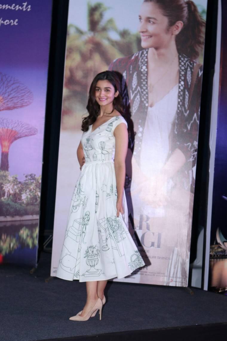 Bollywood Actress Alia Bhatt Stills In White Dress