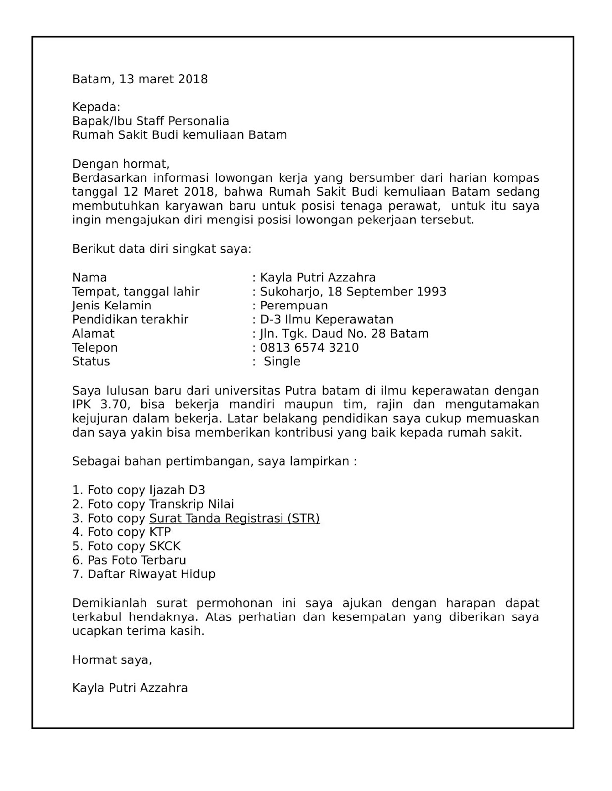 Contoh Surat Lamaran Pekerjaan Perawat