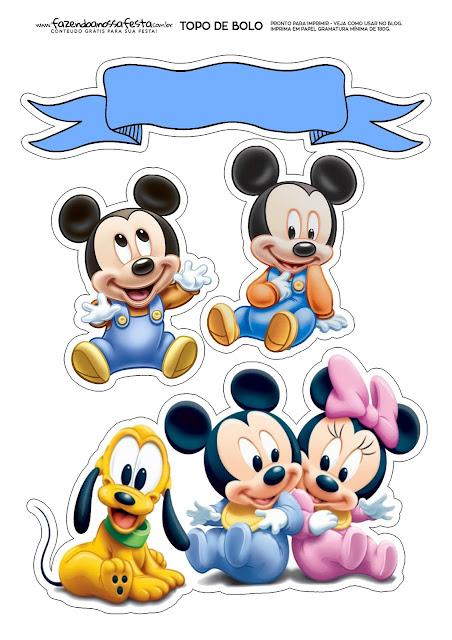 Toppers para Tartas, Tortas, Pasteles, Bizcochos o Cakes para Imprimir Gratis de Bebés Disney.