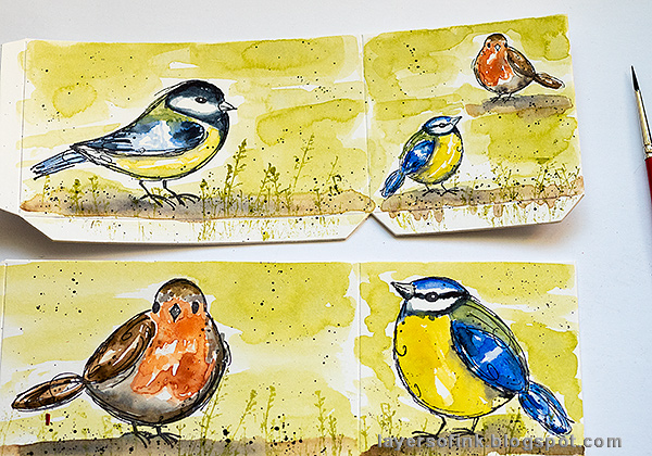 Layers of ink - DIY Watercolor Birds Pen Holder by Anna-Karin Evaldsson. Splatter watercolor paint.