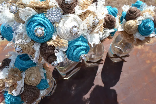 Turquoise Fabric Wedding Flowers