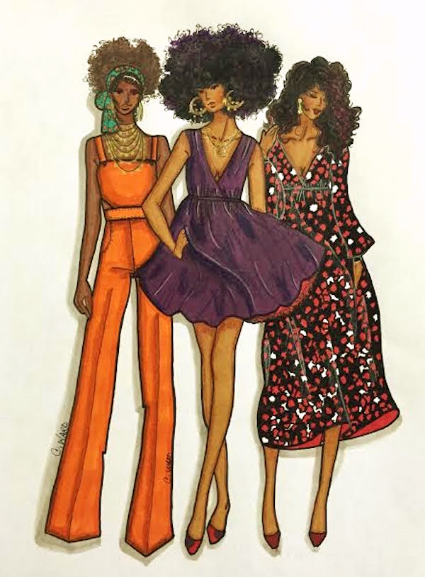 group sketch black girls fashion sewing