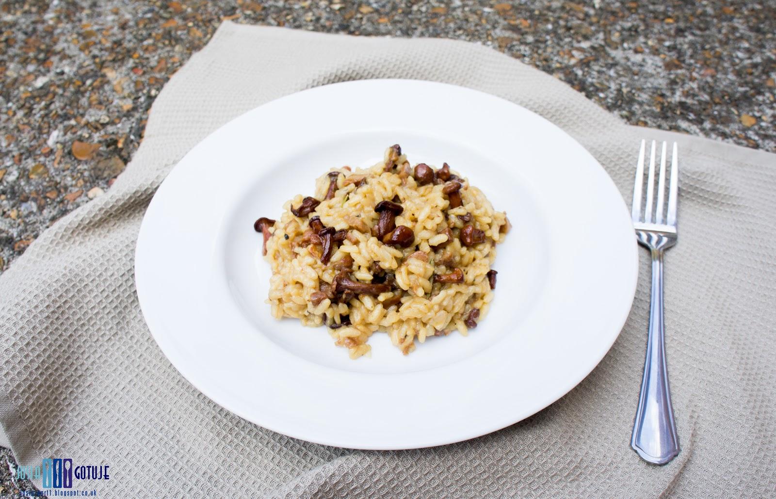 risotto z kurkami, risotto z kurkami i rozmarynem, risotto,  chanterelles