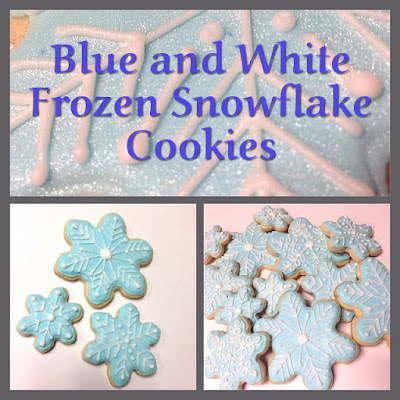 Blue and White Frozen Snowflake Cookies
