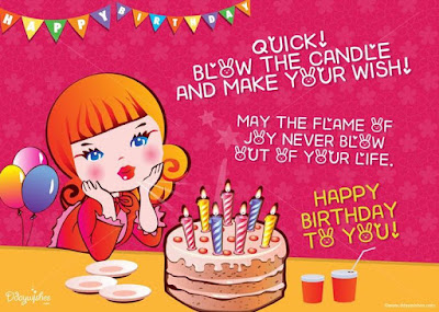 Happy Birthday Wises Cards For friends: quick blow the candle and make your wish