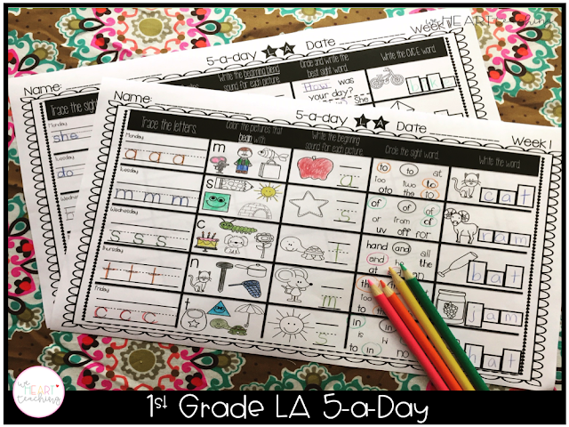 https://www.teacherspayteachers.com/Product/5-a-Day-LA-1st-Grade-Weekly-Spiraling-Review-Great-Morning-Work-2203705